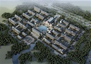 中式康复养老中心老年公寓养老院SU(草图大师)模型设计