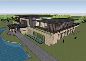 两层宾馆酒店建筑设计SU(草图大师)模型