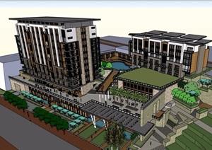 新亚洲风格山地酒店详细多层设计SU(草图大师)模型