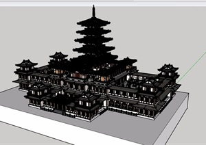 古典中式风格寺庙塔院建筑SU(草图大师)模型