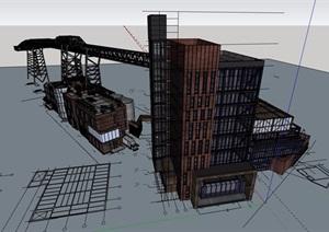 详细的多层工厂建筑楼设计SU(草图大师)模型