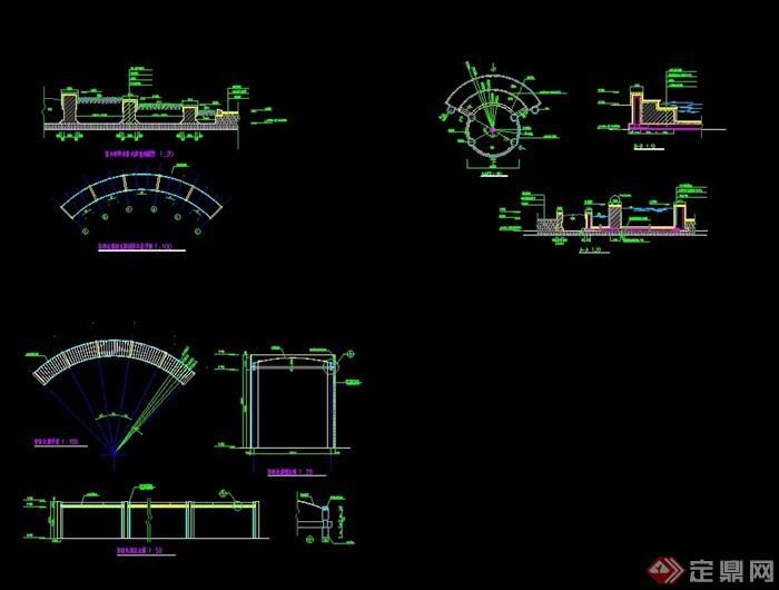 现代详细完整的廊架素材设计cad施工图