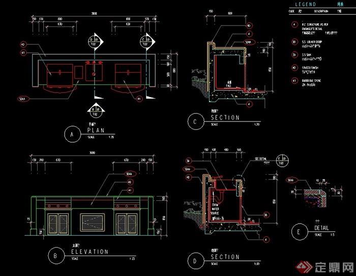 详细的景墙设计cad施工图英文版cad怎么删除布局图片