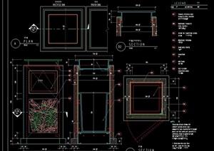 详细的垃圾桶素材设计cad施工图