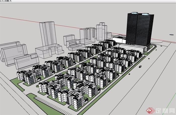 现代中式小区规划建筑SU模型