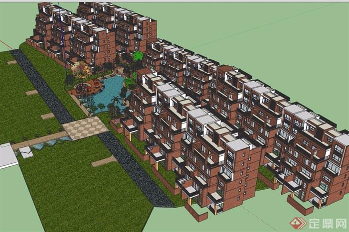 完整住宅建筑及景观su精模