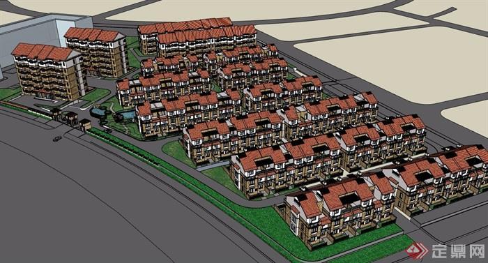 欧式小区详细多层建筑楼设计su模型