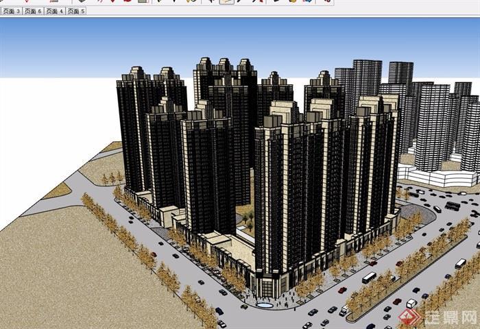 新古典风格详细的商业住宅小区高层建筑楼su模型