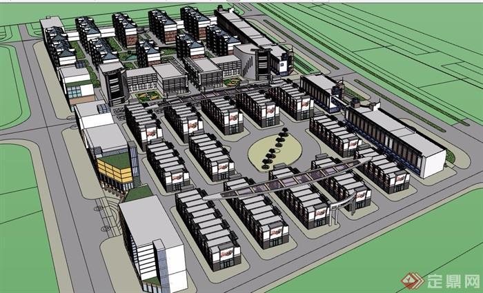混搭详细完整的住宅楼设计su模型