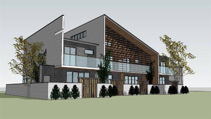 现代新中式单坡屋顶木格栅表皮高端典雅私人住宅别墅(2)