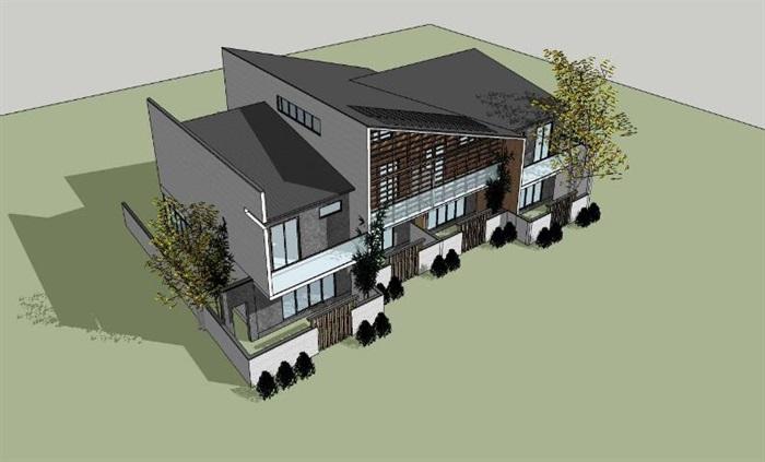 现代新中式单坡屋顶木格栅表皮高端典雅私人住宅别墅(1)