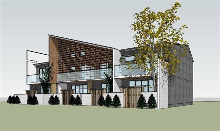 现代新中式单坡屋顶木格栅表皮高端典雅私人住宅别墅(3)