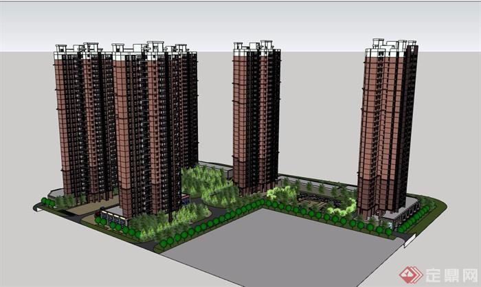 详细的经典商业住宅楼su模型