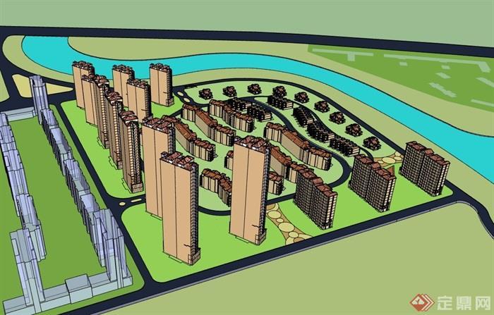 欧式风格详细多层及高层住宅楼设计su模型