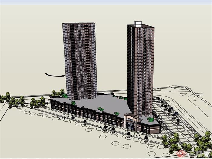 理想城花园商住建筑楼设计su模型