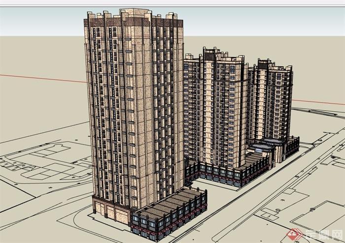 详细完整的商业住宅高层建筑楼su模型