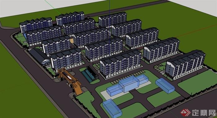 某现代详细的小区住宅多层建筑楼su模型