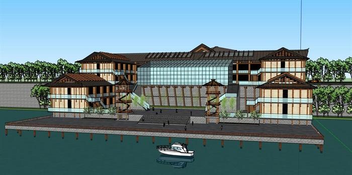 滨水仿古中式特色酒店餐厅与古建木拱桥(3)