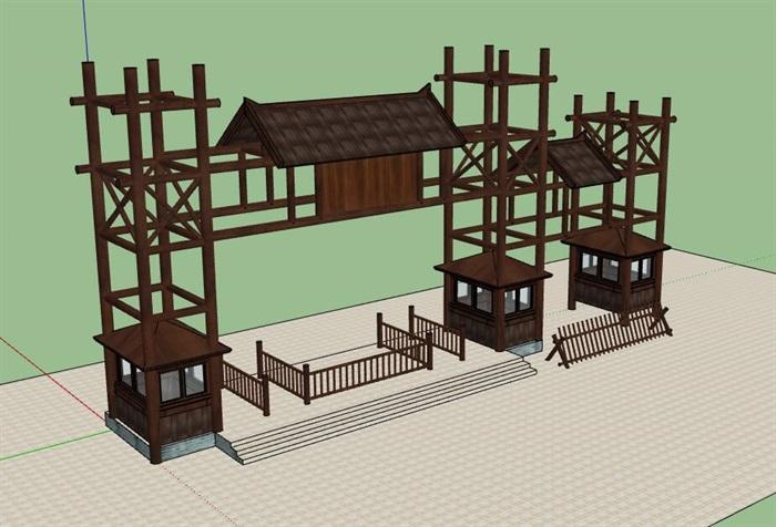木构架旅游景区度假山庄售票入口(1)
