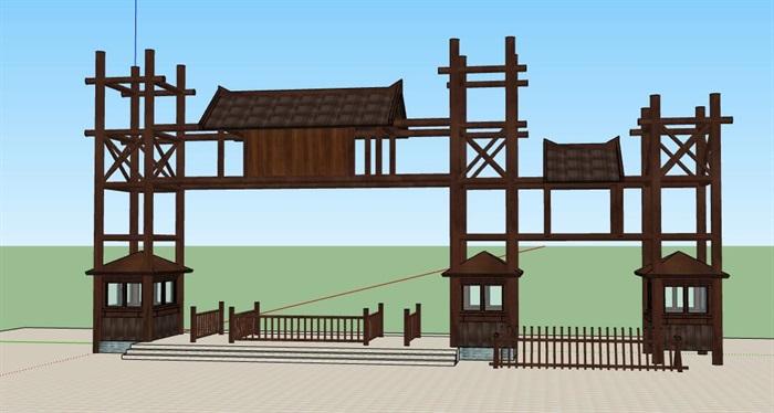 木构架旅游景区度假山庄售票入口(2)