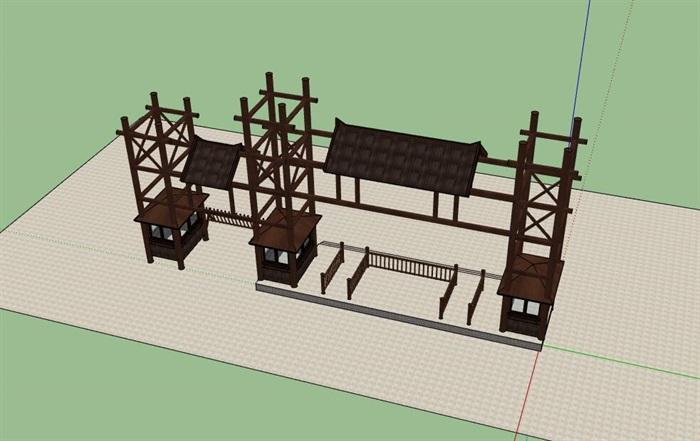 木构架旅游景区度假山庄售票入口(3)