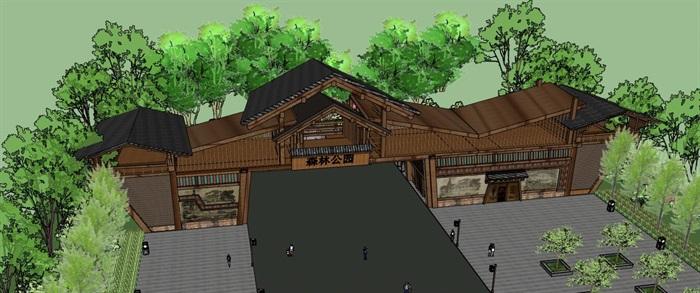 木构架坡屋顶景观公园度假景区大门入口(2)