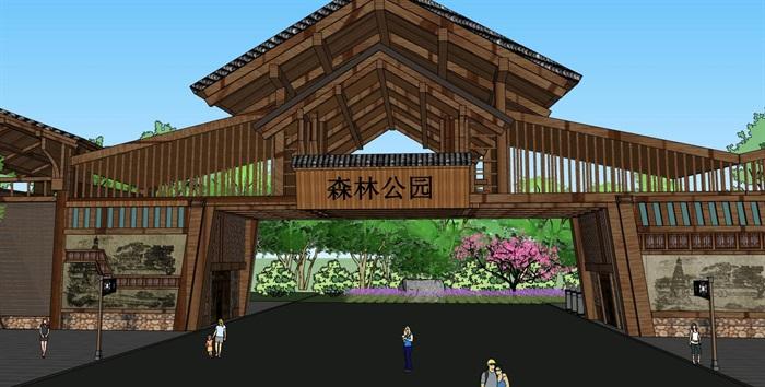 木构架坡屋顶景观公园度假景区大门入口(3)
