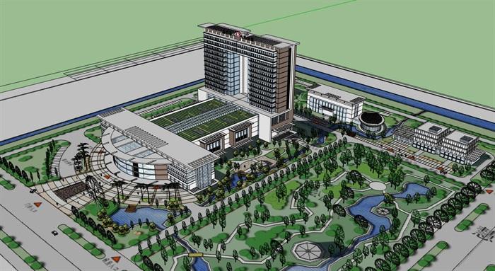 现代简约大型医院疗养院高层住院楼(1)