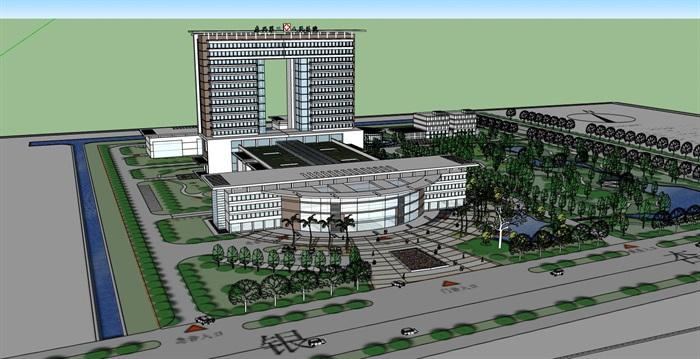 现代简约大型医院疗养院高层住院楼(2)
