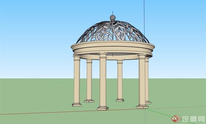 圆形欧式风格详细的亭子设计su模型