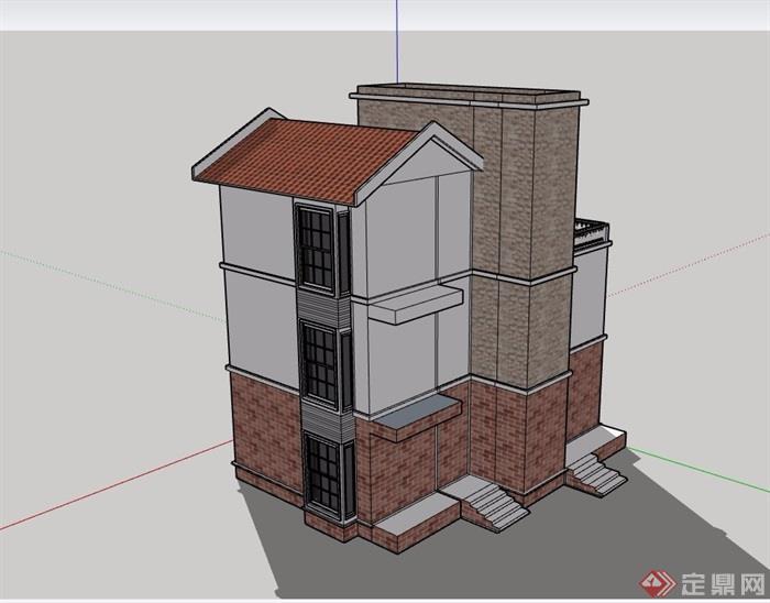 三层详细的欧式建筑别墅设计su模型