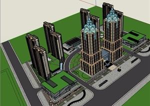 城市商业办公住宅综合体建筑设计SU(草图大师)模型