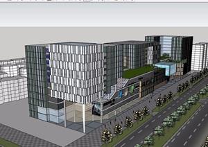 详细现代完整的商业办公楼设计SU(草图大师)模型