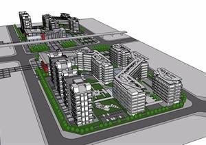 办公、居住综合区建筑设计SU(草图大师)模型