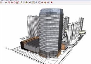 现代商业办公综合高层建筑SU(草图大师)模型