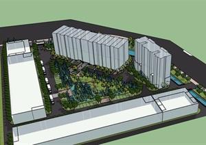 现代风格详细工厂整套完整环境设计SU(草图大师)模型
