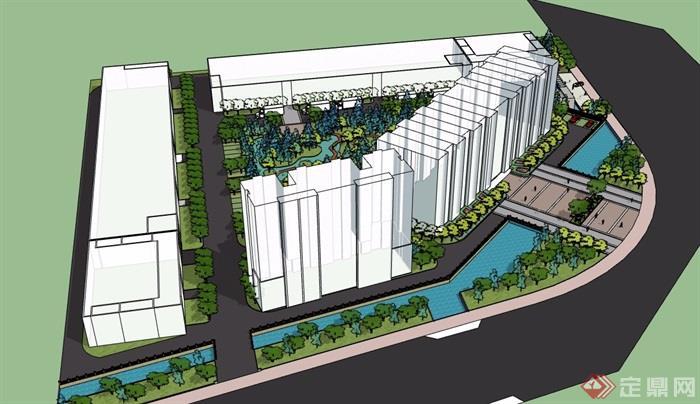 现代风格详细工厂整套完整环境设计su模型