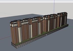 欧式风格详细的住宅楼加商铺建筑设计SU(草图大师)模型