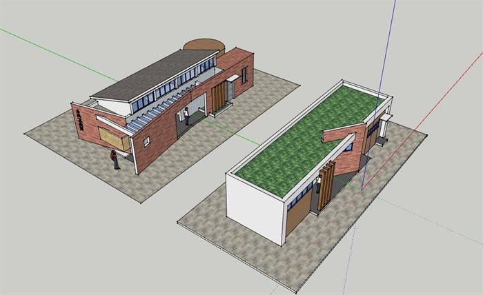 两套公园旅游景区公共厕所su模型,cad套图方案(1)