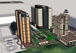 某现代风格详细的完整办公及住宅楼设计SU(草图大师)模型