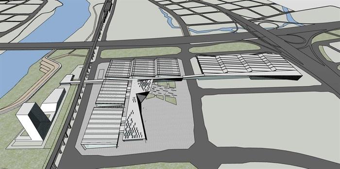 现代创意折板屋顶几何切削形体大跨结构国际会展中心文化展示博物馆(2)