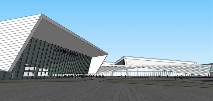 现代创意折板屋顶几何切削形体大跨结构国际会展中心文化展示博物馆(1)