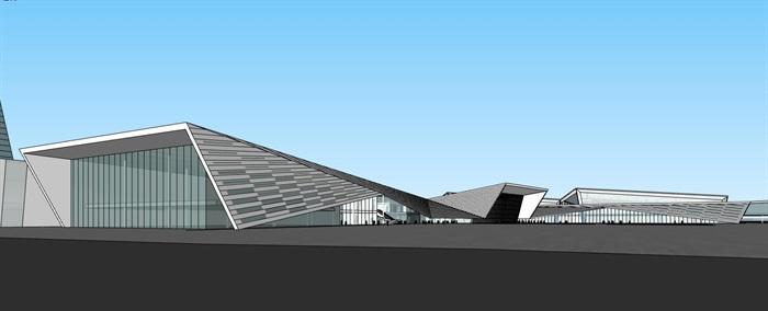 现代创意折板屋顶几何切削形体大跨结构国际会展中心文化展示博物馆(3)