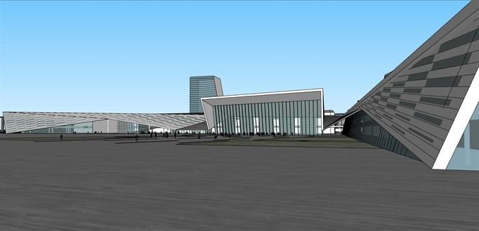 现代创意折板屋顶几何切削形体大跨结构国际会展中心文化展示博物馆(4)