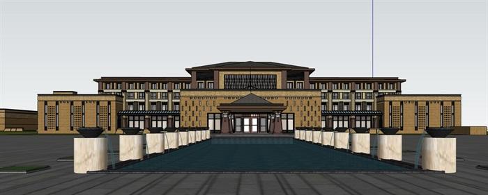 现代新中式大漠风情高端气派庄严精品度假酒店(1)