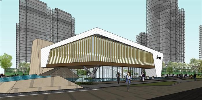 现代创意参数化渐变式木格栅表皮街边精品商业店市民活动文化中心(1)