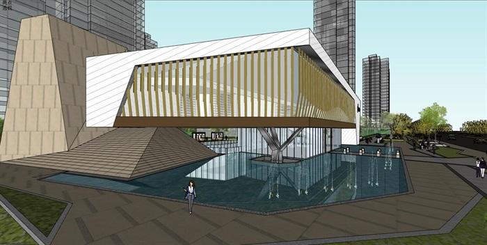 现代创意参数化渐变式木格栅表皮街边精品商业店市民活动文化中心(2)