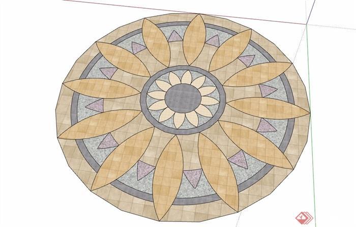 详细的地面拼花素材设计su模型