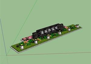 详细完整的标志牌及种植池设计SU(草图大师)模型