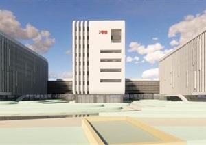 现代大型创意简约圆弧流线形体医院疗养院建筑群规划